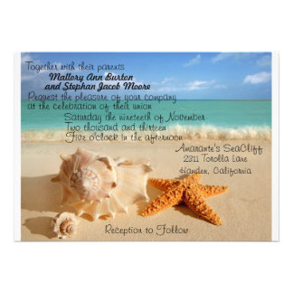 Beach Starfish Wedding Invitiation Customize Personalized Announcement
