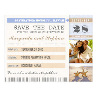 beach starfish & your photo save the date tickets postcard