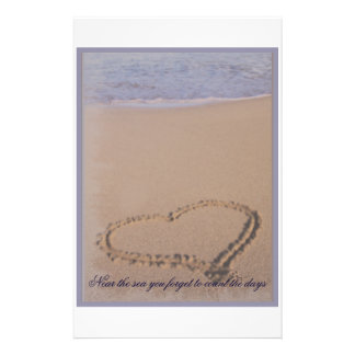 Beach Stationary Heart in Sand Stationery