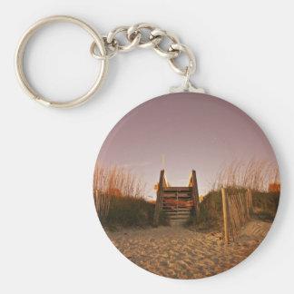 Beach Steps Basic Round Button Key Ring