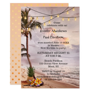 Beach String Lights Post Wedding Party Invitation