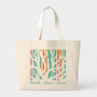 Beach Stripes and Coral Tote Bag