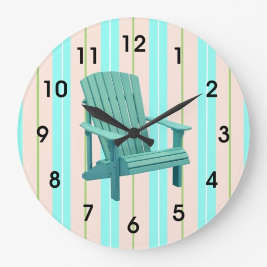 Beach Stripes With Adirondack Chair Large Clock