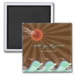 Beach Summer Cool Blue Waves Sunset Save The Date Square Magnet