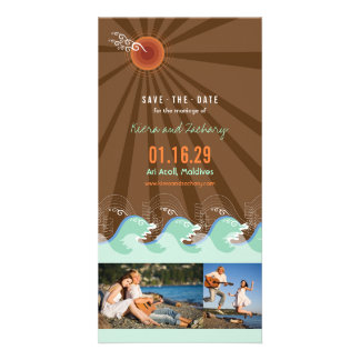 Beach Summer Cool Waves Brown Sun Save The Date Customized Photo Card