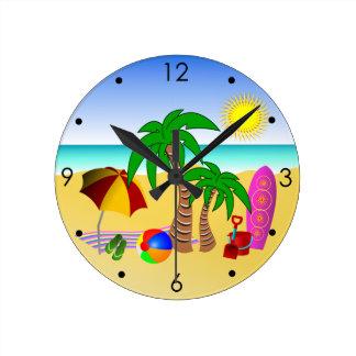 Beach Sun Sea and Surf Fun Blue Round Wall Clocks