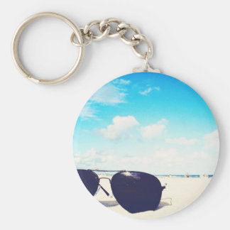 Beach Sunglasses Basic Round Button Key Ring