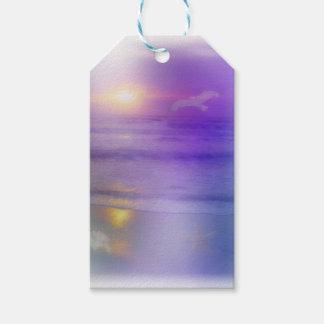 Beach Sunrise Lavender Peach seagull ocean tags