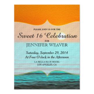 Beach Sunrise Painting in Orange Sky & Teal Water 11 Cm X 14 Cm Invitation Card