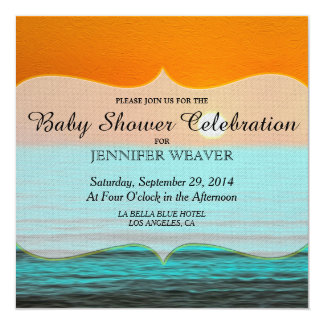 Beach Sunrise Painting in Orange Sky & Teal Water 13 Cm X 13 Cm Square Invitation Card