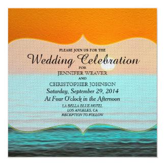 Beach Sunrise Painting in Orange Sky & Teal Water 13 Cm X 13 Cm Square Invitation Card