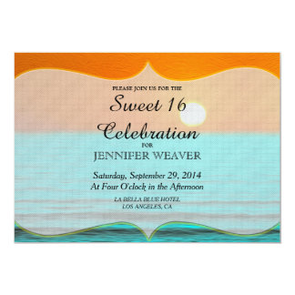 Beach Sunrise Painting in Orange Sky & Teal Water 13 Cm X 18 Cm Invitation Card