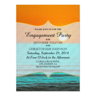 Beach Sunrise Painting in Orange Sky & Teal Water 14 Cm X 19 Cm Invitation Card