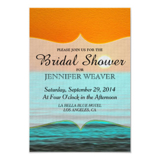 Beach Sunrise Painting in Orange Sky & Teal Water 9 Cm X 13 Cm Invitation Card