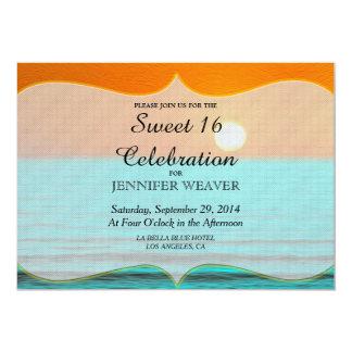 "Beach Sunrise Painting in Orange Sky & Teal Water 5"" X 7"" Invitation Card"