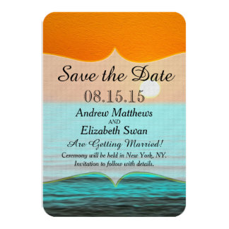 Beach Sunrise Painting in Orange Sky & Teal Water Personalized Invitations