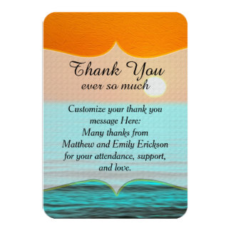 Beach Sunrise Painting in Orange Sky & Teal Water 3.5x5 Paper Invitation Card