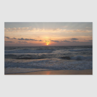 Beach sunrise rectangular sticker