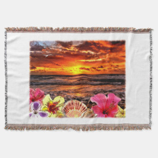 Beach Sunrise Throw Blanket