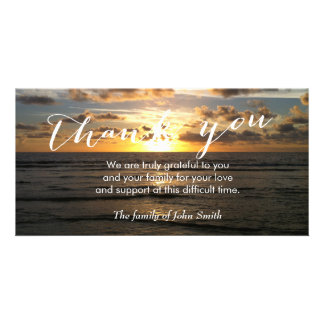 Beach Sunset After Funeral Memorial Thank You Personalized Photo Card
