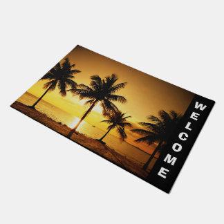Beach Sunset and Palm Trees Door Mat