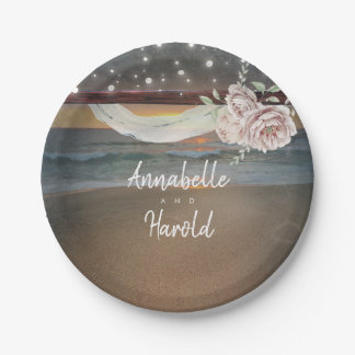 Beach Sunset and String Lights Wedding Paper Plate