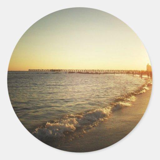 Beach Sunset at Coney Island, Brooklyn Round Stickers
