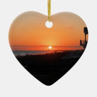 Beach Sunset at Holden Beach NC Ceramic Heart Decoration