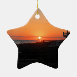 Beach Sunset at Holden Beach NC Ceramic Star Decoration