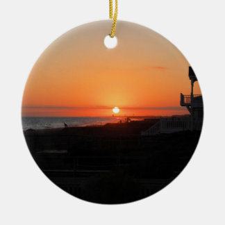Beach Sunset at Holden Beach NC Christmas Ornament