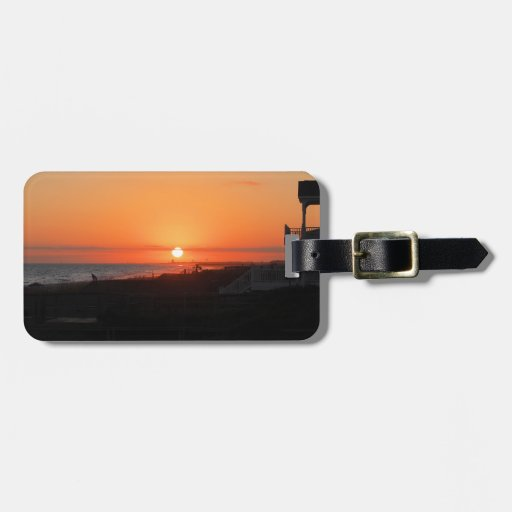 Beach Sunset at Holden Beach NC Tag For Luggage