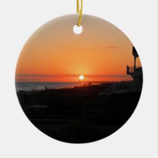 Beach Sunset at Holden Beach NC Round Ceramic Decoration