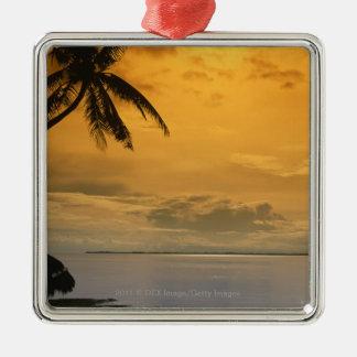 Beach sunset christmas ornament