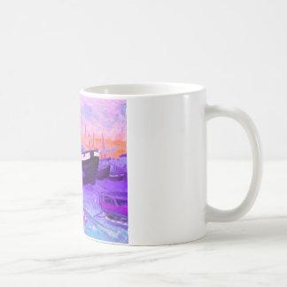 Beach, sunset, flowers, boats coffee mug