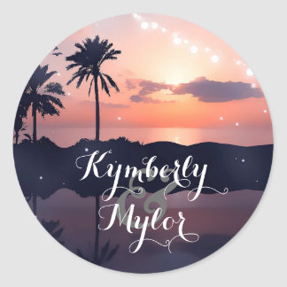Beach Sunset Light Palms Wedding Round Sticker