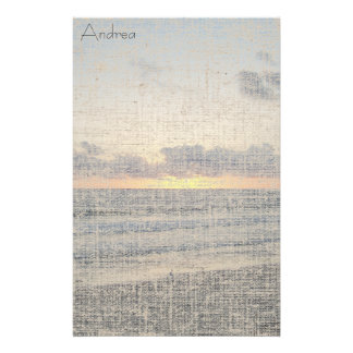 Beach Sunset Linen Stationery
