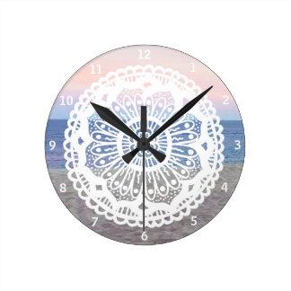 Beach Sunset Mandala Round Clock