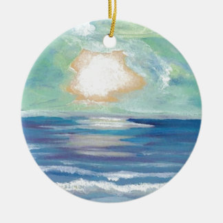 Beach Sunset Ocean Sea Surf Sun Gifts Christmas Ornament