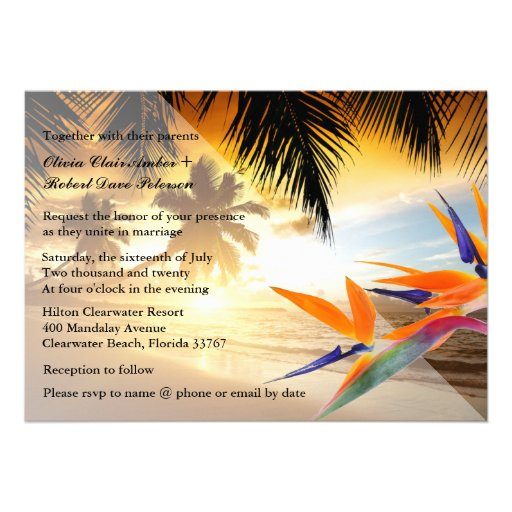 Beach Sunset Palm Trees Bird-of-Paradise Wedding Custom Invites