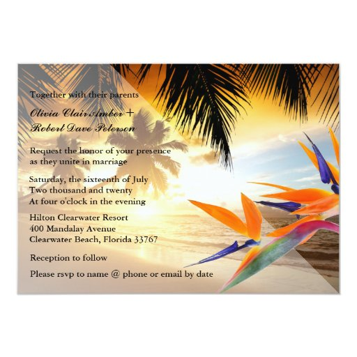 Beach Sunset Palm Trees Bird-of-Paradise Wedding 13 Cm X