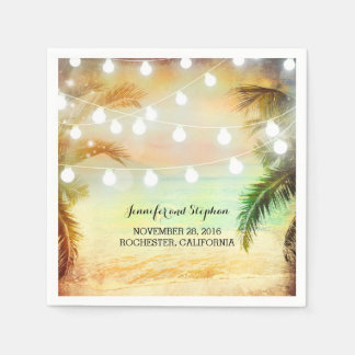 Beach Sunset Palms and String Lights Wedding Disposable Napkin