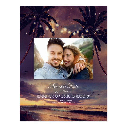 Beach Sunset Palms Lights Photo Save the Date