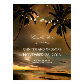 Beach Sunset Palms String Lights Save the Date Postcard
