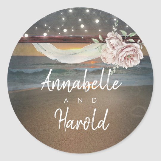 Beach Sunset Romantic Summer Wedding Classic Round Sticker