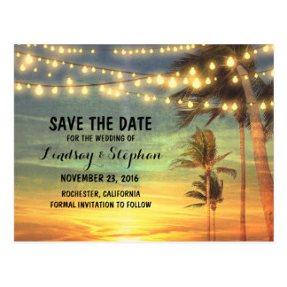 beach sunset save the date postcards