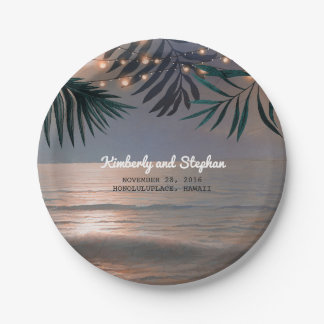Beach Sunset String Lights Palms Destination Paper Plate
