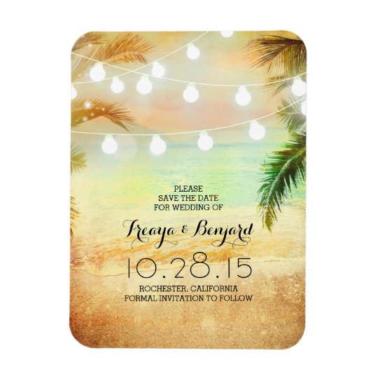 Beach Sunset String Lights Palms Save the Date