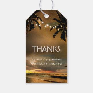 Beach Sunset String Lights Palms Wedding Gift Tags