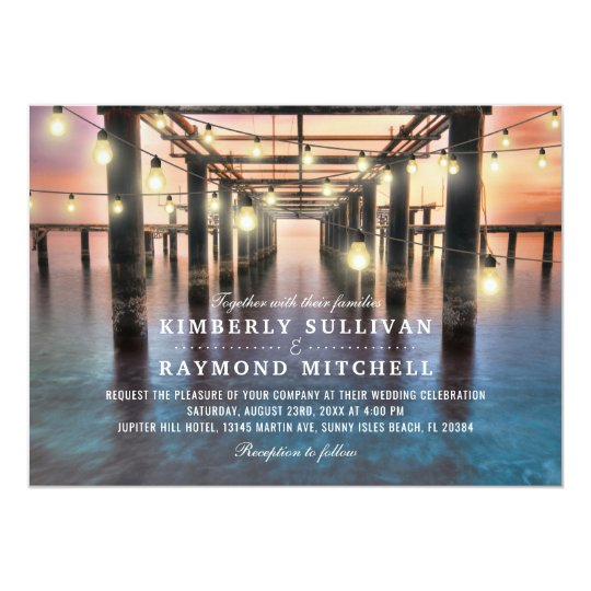 Beach Sunset & String Lights Summer Wedding Card