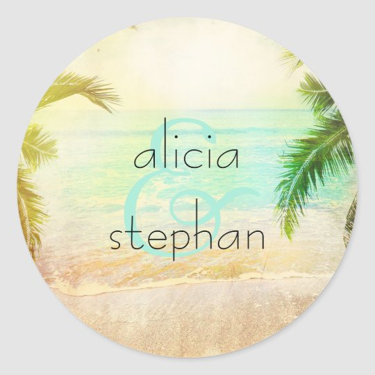 Beach Sunset Wedding Classic Round Sticker